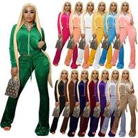 Women Tracksuits Solid Velvet 2 Piece Outfits Designer Zipper Front Pocket Long Sleeve Jacket Bell Bottom Sweatpant Sport XS-XXL 14 Colours