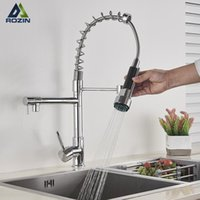 Chrome Spring Kitchen Faucet Pull out Side Sprayer Dual Spout Single Handle Mixer Tap Sink 360 Rotation Degree