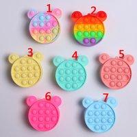 Fidget Toys Sensory Fashion Cartoon Coin Purse Kid Push Bubble Rainbow Anti Stress Children And Adults Decompression Toy 9.5*9.5cm HZ0051