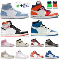 With Box Jumpman 1 1s Women Mens Basketball Shoes 2021 Mid Digital Pink Banned Barely Orange High OG Hyper Royal Patina Chicago Sneakers Trainers Sports