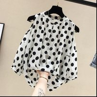 Discount large polka dot shirt Womens Shirts women Blouse Large Size shirt Summer Short Sleeved All match Tops Polka Dot off Shoulder Chiffon elegant Female