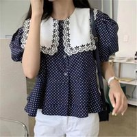 Discount large polka dot shirt Women' S Blouse Koren Style Chic Vintage Polk Dot Shirt Contrasting Color Large Lapel Puff Sleeve Tops 2021 Summer Women's Blouses & Shirts
