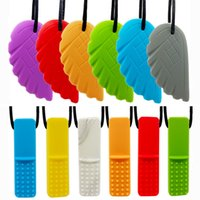 Sensory Chew Necklace Chicken wings Dumbbells Chewing Pendant Silicone Teethers teething stick Toys Chewlery Necklace for Infant Kids 24 colors Z2929