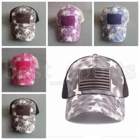 US Flag Star Tie Dye Ponytail Hats Washed Mesh Back Woman Messy Bun Baseball Cap Designer Trucker Hat CYZ3209
