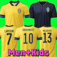2020 2021 Sweden IBRAHIMOVIC Men 20 21 Soccer Jerseys KALLSTROM LARSSON Home Away Football Shirt Sweden National Team TOIVONEN MARCUS BERG Uniforms kids kit