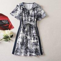 802 XXL 2021 Milan Style Runway Dress Summer Dress Hooded Short Sleeve Brand Same Style Empire Womens Dress Fashion High Quality AS