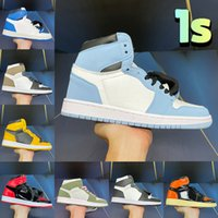 Newest 1 University Blue beginnings 1s Basketball Shoes pollen hyper royal dark mocha patent bred seafoam UNC twist men women Sneakers