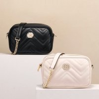 Wholesale leather shoulder bag chain purse fashion wave chain purse cowhide handbag presbyopic card holder evening bag messenger women