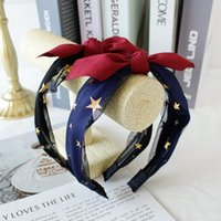 Discount hair bows nets WINYA Ladies' beautiful net yarn bow hair band, stars embellished face wash hairpin,net yarn lace head band, cute outer headwear