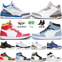Top Quality 2021 Jumpman 1 1s University Blue Basketball Shoes Light Fusion Red Racer Medium Grey Fragment Mens Women Trainers Sneakers SIZE 13