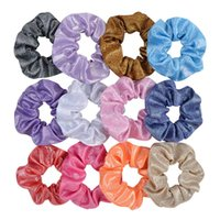 Discount linen hair bows Korean Fashions Cute 12 Colors New INS Girls Laser Scrunchies Elastic Hairbands Big Ponytail Holder Hair Bands Women Hair Accessories