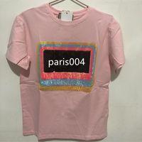 Women's luxury chest letter bright short sleeve T-shirt fashion designer T-shirt loose women Pink Apricot T-shirt Top quality