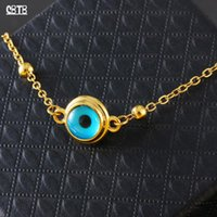 Discount crystal turkey Blue Evil Eye Crystal Charm Necklace For Women Muslim Jewelry Turkey Eyed Gold Plated Never Fading Chains
