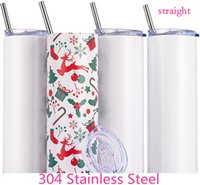 STRAIGHT! 20oz Sublimation Skinny STRAIGHT Tumblers With Straw Stainless Steel Water Bottles Double Insulated Cups Mugs Include Shippng fy4275