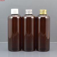 Wholesale white toner refill resale online - 50pc ml Amber Plastic Makeup Water Bottle White Cap Empty Toner Container Refillable Lotion Bottle Shampoo Bottlegoods