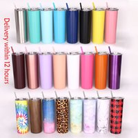 20oz Skinny Tumblers Slim Cup With Lid and Straw 18 8 Stainless Steel Double Wall Vacuum Flask Insulated Thermos wine tumbler