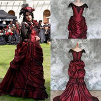 Discount outdoor vintage lace wedding dresses Burgundy Goth Victorian Bustle wedding Gown 2021 Vintage Beaded Lace-up Back Corset Top Gothic Outdoor Bride Party Dresses