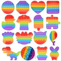 DHL Rainbow Funny It Fidget Toy Antistress Toys For Adult Children Push Bubble Fidget Sensory Autism Special Needs Anxiety Stress Gifts