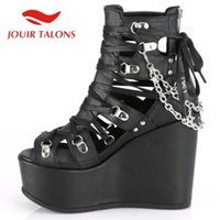 Discount shoelaces styles TALONS Gothic Style High Quality Shoes Punk Cool Zip Platform Large Size 35-43 Shoelace Rivet Heels Women Dress