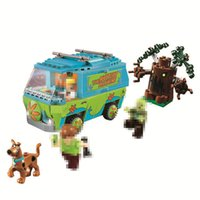 10430 minifig Educational Scooby Doo Bus Mystery Machine Kits Mini Action Figure Building Blocks Toy For Children