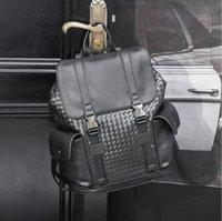 factory wholesale men leather shoulder bag outdoor sports leisure travel backpack hand-woven simple and versatile fashion backpacks street trend plaid handbag