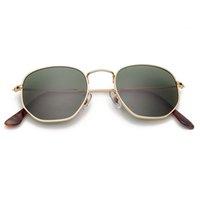 3548 hexagonal sunglasses polarized women men 54mm glass lens mirror gradient color sun glasses oculos de sol Gafas UV400