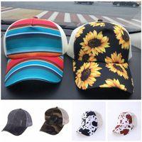 42designs tie-dye leopard sunflower ponytail Washed Baseball Cap hat Messy Buns Trucker caps Men and Women Dad mesh summer outdoor Snapbacks LJJA4152