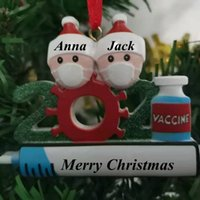 2021 Christmas Decoration Birthdays Party Gift Product Personalized Family Of 4 Ornament Pandemic DIY Resin Accessories with Rope