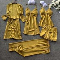 Women Pajamas 5 Pieces Satin Sleepwear Pijama Silk Home Wear Home Clothing Embroidery Sleep Lounge Pyjama with Chest Pads 200919