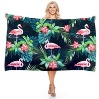 Discount portable camping baths Rectangle Beach Towel Flamingo Print Bath Towels Quick Dry Microfiber Outdoor Portable Swimming Camping Surf Sports Towel
