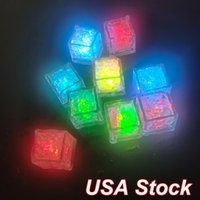 Led Night Lights Lite Ice Cubes Multicolor Light Up Blinking Liquid Active Sensor for Party Xmas Festival Wedding Decoration Color Changing Bar Accessories