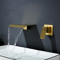 Waterfall Basin Sink Faucet Solid Brass Tap And Cold Water Mixer Bathroom Taps Single Handle Two Hole Brushed Gold Black Faucets