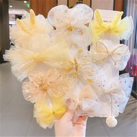 Discount hair bows nets Children's Bow Hairpin Hair Accessories Girls Net Yarn Little Baby Clip Headdress Princess Cute Flower Head