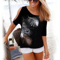 Discount feather shirts plus size Women Summer Tshirt Casual Short Sleeve Tops Tees Sexy Off Shoulder Feather Print T-Shirt O-neck Loose Plus Size Shirts 210317