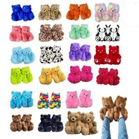 Discount boys winter slippers US STOCK Plush Teddy Bear House Slippers Brown Women Home Indoor Soft Anti-slip Faux Fur Cute Fluffy Pink Winter Warm Shoes FY7486