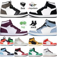 WITH BOX 2021 JUMPMAN Shoes 1 1s High Dark Mocha University Blue Bordeaux Twist Unc Seafoam Burgundy Crush Mens Womens Trainers Sneakers 36-46