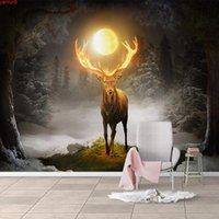 Discount moon wallpaper Custom Photo Wallpaper Moon Forest Elk 3D Mural Wallpapers For Living Room Restaurant Cafe Wall Decor Waterproof Canvas Paintinggood quatity