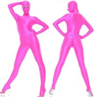 Pink Lycra Spandex Catsuit Costume Unisex Outfit Sexy Women Men Bodysuit Costumes With Open Eyes Back Zipper Halloween Party Fancy Dress Cosplay Suit M252