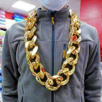Discount plastic link chains FishSheep Hip Hop Gold Color Big Acrylic Chunky Chain Necklace For Men Punk Oversized Large Plastic Link Men's Jewelry Chokers