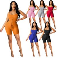 Womens Summer Fashion Clothes Slim Sexy Jumpsuits Crop Top Deep V-neck Suspender Corns Binding Bodysuit Ladies Casual Rompers 835
