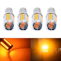 4X 1156 BAU15S PY21W Led Car Bulbs Amber Yellow 33SMD 5730 5630 High Power LED Turn Signal light Parking Bulb Car-styling