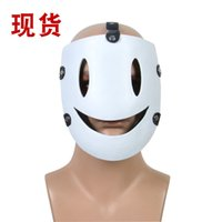 Discount half face japanese mask Japanese anime sky half face resin Mask Masquerade dance smiley face cos prop mask