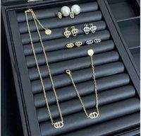 2020Luxury CD jewelry letter earrings female Dijia Internet celebrity mini ear clip High version necklace bracelet
