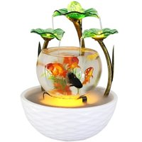 Tabletop Water Feature Green Lotus Rolling Ball Fountain Waterfall Cascade Indoor Decoration Aquarium Humidifier Mist fish tank Y200922