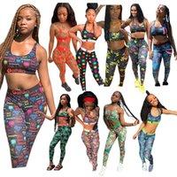 Summer Women Swimwear Sleeveless Vest Tanks + Pants Leggings 2 Piece Outfits Shark Tiger Print Tracksuit Fashion Bra Sports Suit Clothes
