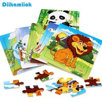 Discount wooden mini toy 12pcs lot Mini Order Wholesale Kids Cartoon Wooden Puzzle Toys for Children Animals   Vehicle Wood Jigsaw Baby Educational Toy A0511