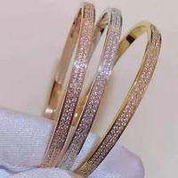 High-quality titanium steel gypsophila bangle jewelry double row diamond starry sky European and American style luxury creative comes with gift box