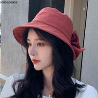 Wholesale Summer Hats Female Bifurcate Bowknot Hat Sun After Folding Beach Fisherman Wide Brim
