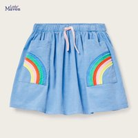 Discount skirts for boys Summer Baby Girl Clothes Denim Color Cotton Mini Rainbow Denim Color School Cute Skirts for Kids 2-7 Years S0182 210319