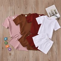 knitted baby clothes boy 2021 - XYBB INS Baby Kids Girls Boys Children Clothing Sets Knitted Cotton Suits Short Sleeve Tops Straps Shorts 2Pieces Summer Outfits
